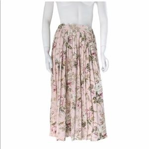 Vintage floral pleated midi  skirt